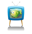 A blue television with a fish vector image