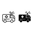 ambulance line and glyph icon medical car vector image