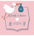 Baby Shower design stork icon pink vector image vector image