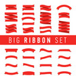 big red ribbons set isolated on white background vector image