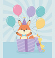 birthday card with little fox character vector image vector image