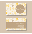 business card with yellow floral background vector image vector image