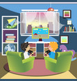 children play the console in room vector image vector image