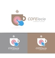 coffee cup and click logo combination cafe vector image vector image