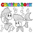 coloring book two cute goldfishes vector image