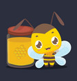cute little bee standing next to a jar of honey vector image