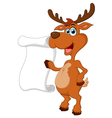 deer presenting and blank sign vector image vector image