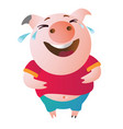 emoji character pig laughs to tears vector image vector image