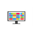 flat tile user interface computer icon monitor vector image