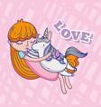 girl and unicorn cute cartoons vector image