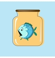 Glass jar with canning fish design vector image