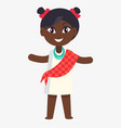 happy little afro-american girl in flat design vector image vector image