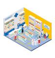 isometric pharmacy interior vector image