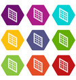 lattice window frame icons set 9 vector image vector image