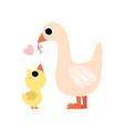 mother goose feeding her gosling cute farm birds vector image vector image