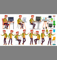 office worker poses face emotions vector image vector image