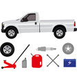 Pick-up truck with group of repair shop elements vector image vector image