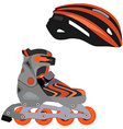 Rollerblade and helmet vector image