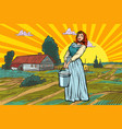 rural woman with a bucket water or milk farm vector image vector image