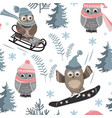 seamless pattern with cute sport owls vector image