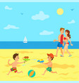 seaside relaxation parents and kids in summer vector image