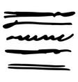 set black ink brush stroke line line vector image vector image
