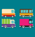 set of color trucks isolated trucks flat design vector image vector image