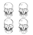 Set of four Hand Drawn Skulls vector image vector image