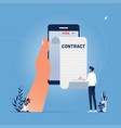 settle contract or make deal online concept vector image