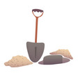 shovel digging a pit vector image vector image