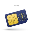 State of Indiana phone sim card with flag vector image vector image