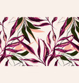 tropical pattern with palm tree in red pink vector image vector image