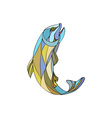 Trout Jumping Up Mosaic vector image vector image