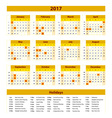 Wall Calendar Planner for 2017 Year Design Print vector image vector image
