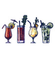 watercolor alcohol cocktails set vector image vector image