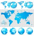 world maps and globe vector image vector image