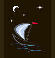 yacht in the night vector image vector image