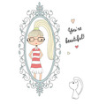 Young girl looking at the mirror with a cat vector image vector image