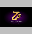 zo z o 3d gold golden alphabet letter metal logo vector image vector image