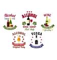 Alcohol drinks cocktail bar emblems set vector image