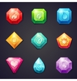 Set of cartoon colored stones with different signs vector image