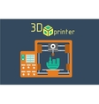 3d printer flat style on colored background vector image vector image