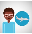 afroamerican man traveler airplane vector image
