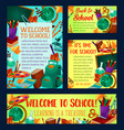back to school banner and greeting card design vector image vector image