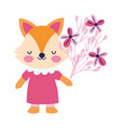 bashower female fox with dress and flowers vector image