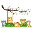 Bear family playing under tree branch in the park vector image vector image