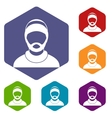 Bearded man avatar icons set vector image