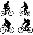 bicyclists silhouettes set vector image vector image