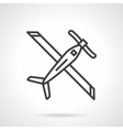 Biplane black line icon vector image