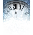 blue shiny 2019 new year background with clock vector image vector image